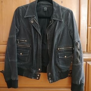 Marc Jacobs Black Denim Zipper Bomber Jacket